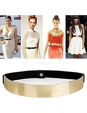 Edealing Delgado elástico metálico Bling simple placa de moda de la venda del metal del oro Cinturón