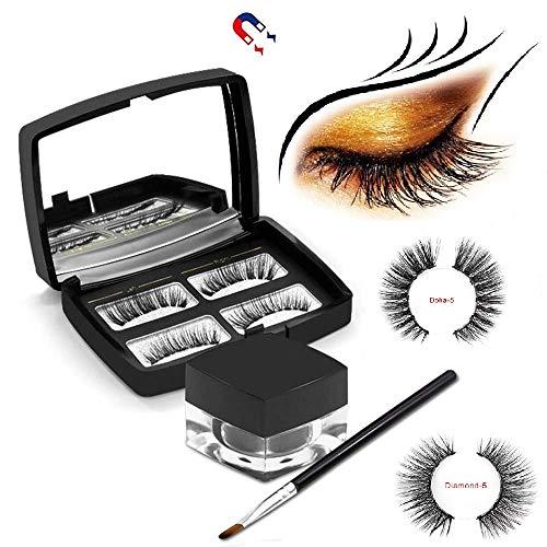 Magnetischer 3D-Eyeliner mit magnetischen Wimpern, [2019 Neueste] Schwarzer wasserdichter, schweißfester, magnetischer, flüssiger Eyeliner mit Pinsel und Spiegel zuren (Doha+Diamond)