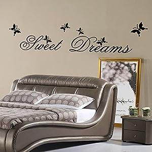 ufengke Wandtattoo Sprüche Einfache Sweet Dreams Worte Große Dekorative Wandaufkleber Abnehmbare DIY Vinyl Wandtattoos für Wohnzimmer, Schlafzimmer, Familie