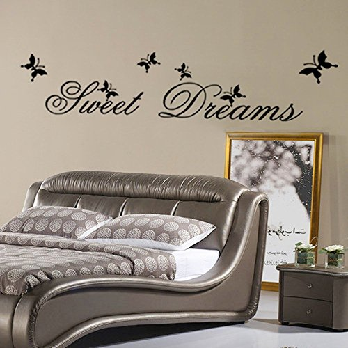 Ufengke home semplici parole sweet dreams adesivi murali grande decorazione rimovibili vinile diy stickers murali per parete della famiglia, soggiorno, camera da letto