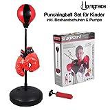 Saco de Boxeo para Práctica de Boxeo con Punchingbal y Guantes, Altura Ajustable 70 - 105 cm para Niños Color Negro y Rojo