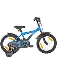 "PROMETHEUS Bicicleta para niño y niña | 16 pulgadas | Color azul y negro | Con ruedas de apoyo | Aluminio Frenos de tiro lateral y freno de contrapedal | A partir de 5 años | 16"" BMX Edition 2018"