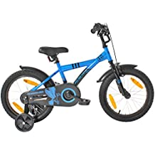 "PROMETHEUS bicicleta para niños 16 pulgadas color azul y negro con ruedas de apoyo | Frenos de tiro lateral y freno de contrapedal | a partir de 5 años | 16"" BMX Edición 2017"