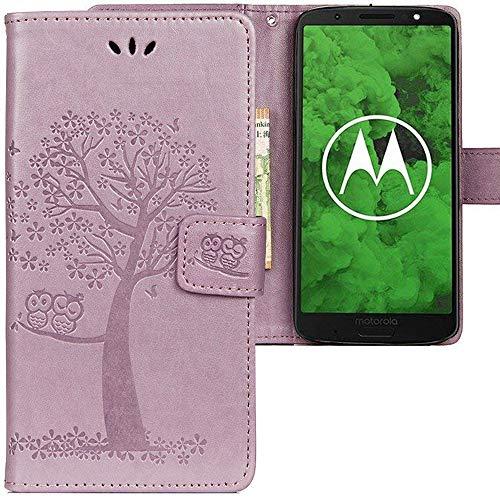 CLM-Tech Motorola Moto G6 Plus Hülle, Tasche aus Kunstleder, Baum Eule lila, PU Leder-Tasche für Moto G6 Plus Lederhülle