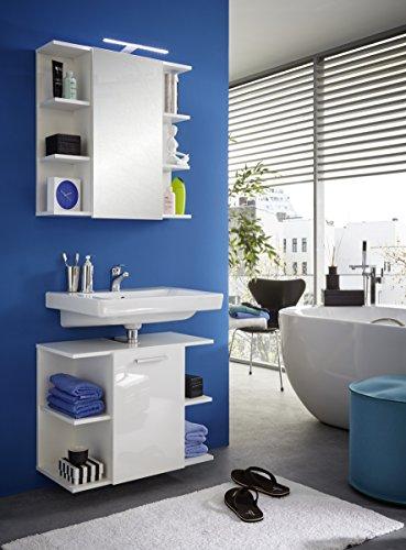Badezimmer Schrank – Weiß Hochglanz 68 cm - 4