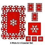 Materassi e Set Coaster Set di Natale Tavolino da Fiocco Di Neve Materassi Rosso 8PC