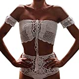 Juleya Sexy Handmade Crochet Bikini Badeanzug Brasilianische Bademode Frauen Strand Badeanzug Gestrickte Bikini Set Weiß M