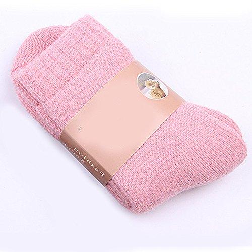 Merssavo1 Paar Winter Frauen Damen Casual Warme Weiche Wolle Cashmere Dicke Solide Sport Socken ( Rosa ) (Gemusterte Söckchen)