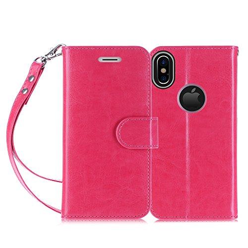 Cover iPhone X, Custodia iPhone X, Fyy® [RFID Blocco Portafoglio] 100% Custodia Manofatto Portafoglio [Sosotenitore Supportore] Con Slot da Proteggere le Carte Bancarie Identita per iPhone X Edition N B-Magenta