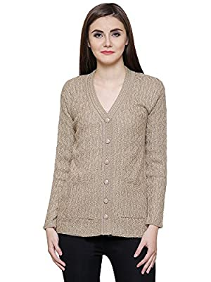 Matelco Beige Women's Woollen Buttoned v-neck Cardigan/ Sweater for Winter (Free Size)