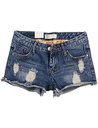 7a37c91c30 Cayuan Mujeres Pantalones Cortos de Mezclilla Deshilachado Vaqueros Jeans  Cortos Verano Casual