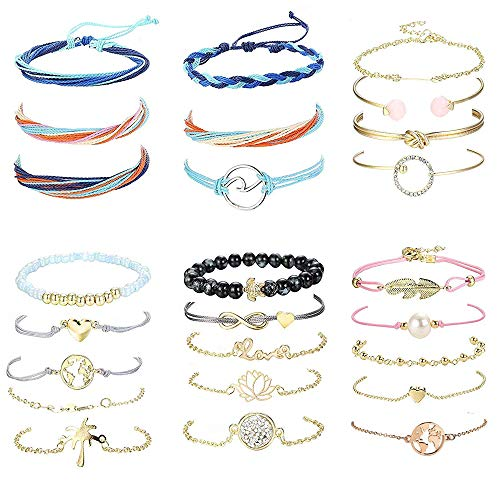 Yadoca 25 pezzi bracciali boho per donne ragazze bracciali cuore portafortuna bracciali amicizia regolabili