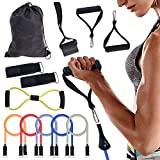 WOLFWILL Exercise Band Kit,Resistance Band Set,Fitness Rubber Tubes with Chest Expander, Door Anchor, Ankle Strap, Foam Grip,Carrying Pouch for Building Muscle, Fat Loss, Rehabilitative Exercises, Indoor or Outdoor Use (12 Pcs)