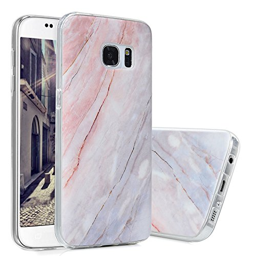 S7 Marmor Hülle, KASOS Marble Handyhülle : Silikon Case Weich TPU Huelle mit IMD Technologie für Samsung Galaxy S7, Holz rot