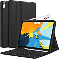 Pritzker iPad Pro 11 Keyboard Case 2018 - Detachable Wireless Keyboard [Support Apple Pencil Charging] - Ultra Slim PU Leather Folio Stand Cover with Pencil Holder for iPad Pro 11 Inch 2018, Black