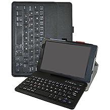 "Lenovo Tab3 A8-50 / Tab3 8 Bluetooth teclado Funda,Mama Mouth DETACHABLE Bluetooth teclado teclado (teclado QWERTY formato inglés) PU Cuero Con Soporte Funda Caso Case para 8"" Lenovo Tab 3 8 TB3-850F / TB3-850M Tablet 2016,Negro"