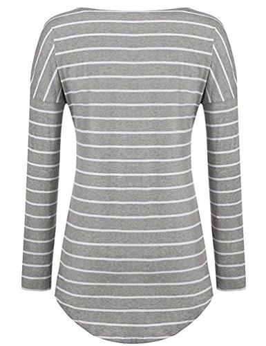 Sentao Donna Moda Casuale Camicetta Maglietta Striscia Manica Lunga Elegante Blusa Camicia Grigio chiaro