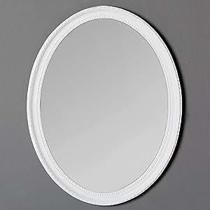 spiegel nerina 50x40cm wei oval barockspiegel holzrahmen wandspiegel k che haushalt. Black Bedroom Furniture Sets. Home Design Ideas