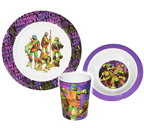 alles-meine.de GmbH 3 TLG. Geschirrset -  Teenage Mutant Ninja Turtles  - Melamin Geschirr - Trinkbecher + Teller + Müslischale / Suppenschale - Kindergeschirr Frühstücksset - ()
