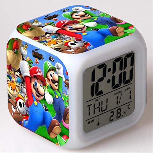 PMFS Despertador Kids Led Cambio de Color de luz Super Mario Bros Reloj Digital Juguetes para niños Despertador 7