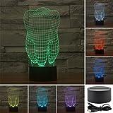 3D Lamp, VSOAIR 3D Night Lights LED USB Touch mit 7 Color Optical Illusion Schreibtischleuchten für Kinderzimmer Home Decoration (Zahn)