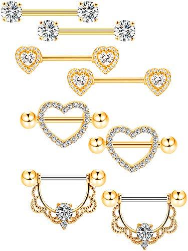 Tatuo 4 paia capezzolo anelli in acciaio inox lingua anello piercing corpo gioielli barretta cz anelli a forma cuore per le donne ragazze (colore 3)