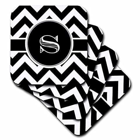 3dRose cst_222081_2 Black and White Chevron Monogram Initial S Soft Coasters (Set of 8)