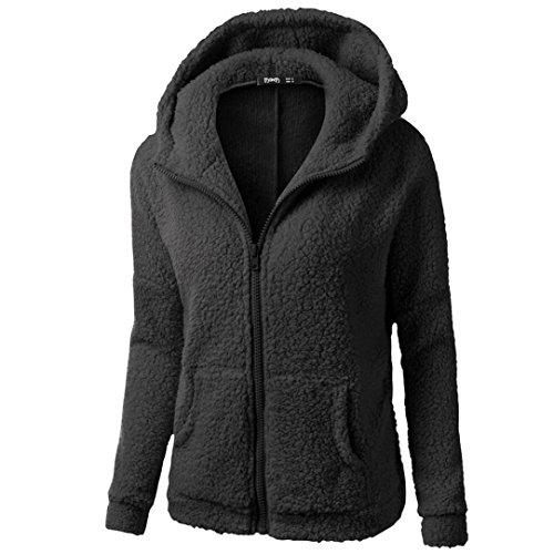 Xinan Damen Kapuzenpullover Sweatshirt Jacke Mantel Winter Wolle Pullover Kleidung Frauen Lange Pullover Blusen Tops von (XXXL, Schwarz) (Strickjacke Winter Wolle)