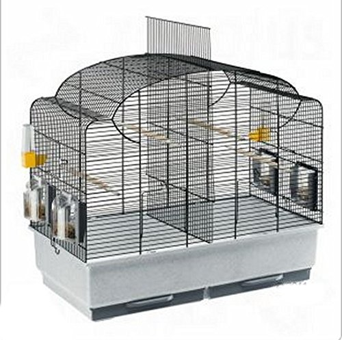 Beautifully Shaped Bird Cage With Basic Accessories For Parakeets, Black Grid - Can Be Partitioned Into Two Areas 1