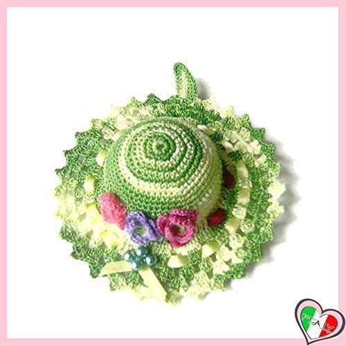 Grüntöne häkeln Hut Nadelkissen mit Lila Blumen aus Baumwolle - Größe: ø 11 cm - Handmade - ITALY