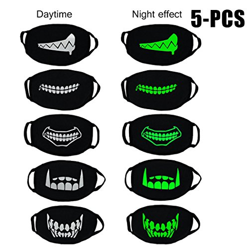 Zoylink 5 STÜCKE Leuchtmasken Mundmasken Unisex Anti Staub Glow In The Dark Baumwolle Gesichtsmasken FüR Halloween Party (Dark In The Glow Halloween-maske)
