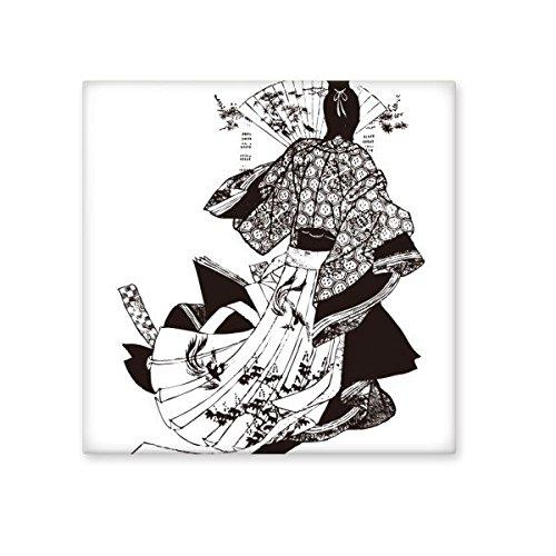 Japan Traditionelle Kultur Schwarz Kimono Frau Fan Line Drawing Sketch Art japanischen Stil, illustration Keramik Bisque Fliesen für Dekorieren Zimmer Küche Keramik Fliesen Wand Fliesen Large - Kimono Wand