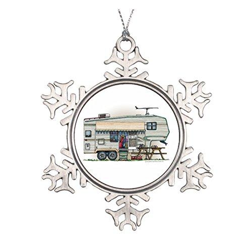 Daily Lady Cute RV Vintage Fünfte Rad Camper Travel Trailer Keramik rund Weihnachten Ornament (Burgund Christmas Stockings)