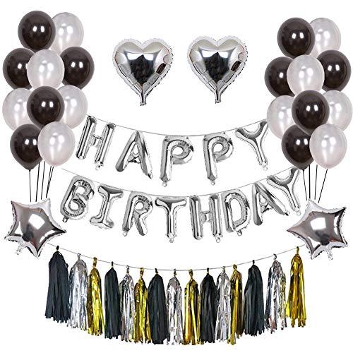 Weimi Geburtstag Dekorationen 52 Stück Ballons Set Alles Gute zum Geburtstag Banner Folienballon für Männer (Silber Dekorationen Weiß Und Schwarz,)