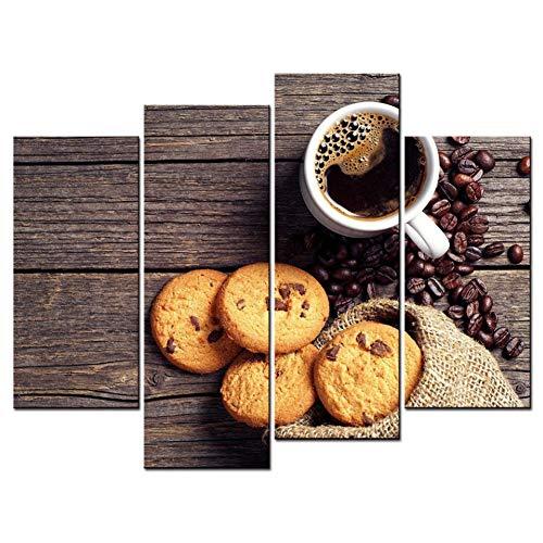 WOKCL Leinwanddruck Wohnzimmer Moderne HD Gedruckt Bilder 4 Stück/Stücke Kaffee Und Kekse Wandkunst Wohnkultur Leinwand Malerei Poster -