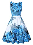 OWIN Women's 1950s Vintage Floral Swing Party Cocktail Dress with Butterfly Pattern (M, Mild Blue)