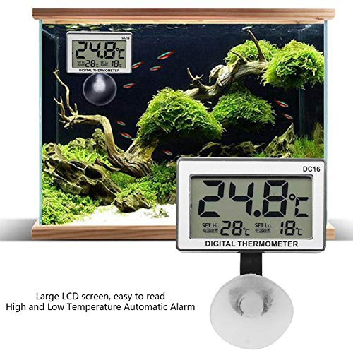 Oyria Wasserdichtes Aquarienthermometer, digitales LCD-Display Aquarium-Thermometer Aquarium Marine Vivarium Unterwasserthermometer mit Saugnapf Marine-lcd