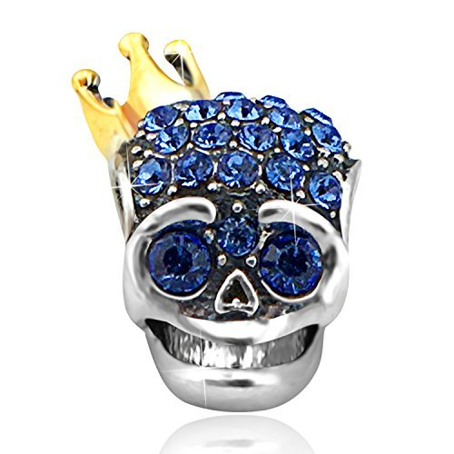 Dia de los muertos skull perla in argento sterling 925placcato in oro, blu cristallo queen crown charm bead