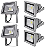 Leetop 5X 10W LED Fluter Floodlight Strahler Licht Scheinwerfer Außenstrahler Wandstrahler Aluminium IP65 Wasserdicht AC 85 - 265V Kaltweiß Tageslichtweiß