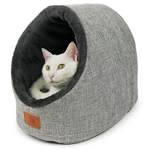 SCHLITZOHR Katzenhöhle Oskar | waschbare Premium Kuschelhöhle für Katzen & Hunde im edlen grau | inklusiv extra gemütlichem Wendekissen