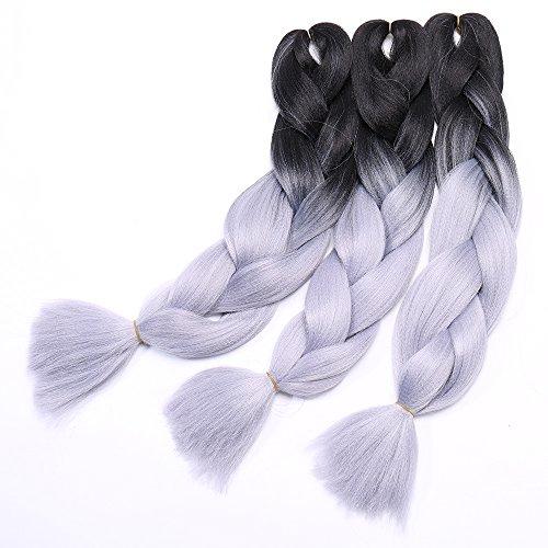 Extension Treccine Ombre Treccia per Capelli Braiding Hair Braids Extensions 100g/pcs Confezione da 3 Ciocche Due Tonalità 28# Nero Grigio Argento