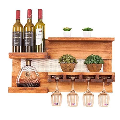 CZZ Multifunktionales Wandregal Aus Holz Für Wein.4 Weingläser Regallager Restaurant, Bar,...