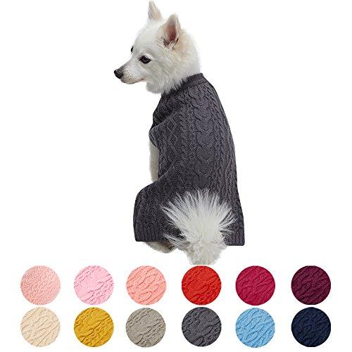 Blueberry Pet Meisterhaftes Klassisches Zopfmuster Rauch grau Hundepulli, Rückenlänge 41cm, Einzelpackung Hundebekleidung