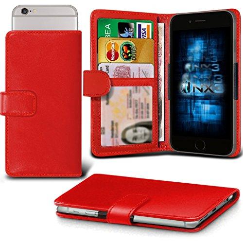 ONX3® (Red) Huawei Ascend Y540 Hülle Abdeckung Cover Case schutzhülle Tasche Verstellbarer Feder Mappe Identifikation-Kartenhalter-Kasten-Abdeckung
