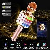 Karaoke Mikrofon Bluetooth, Tragbare Drahtlose Mikrofon Mit 4.1 Lautsprecher Für Erwachsene und Kinder Für Sprach und Gesangsaufnahmen Kompatibel Mit Android/IOS/PC/laptop (Champagner)