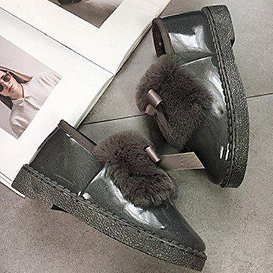 RTRY Scarpe Donna Pu Inverno Comfort Moda Stivali Stivali Tacco Piatto Rotondo Bowknot Di Punta Per Il Casual Arrossendo Rosa Grigio Nero US6.5-7 / EU37 / UK4.5-5 / CN37