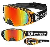 TWO-X Rocket Crossbrille Crush schwarz orange Glas verspiegelt iridium MX Brille Nasenschutz Motocross Enduro Spiegelglas Motorradbrille Anti Scratch MX Schutzbrille Nose Guard