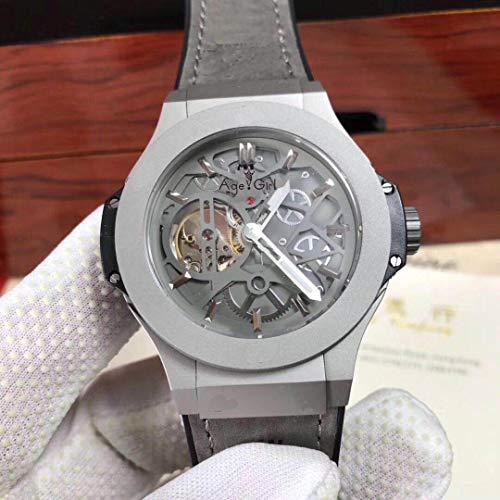 IWHSB Herren Uhren Leder Automatische Mechanische Uhr Saphirglas Zurück Titan Sport Herren Swatch Rose Gold Grau Schwarz Grau