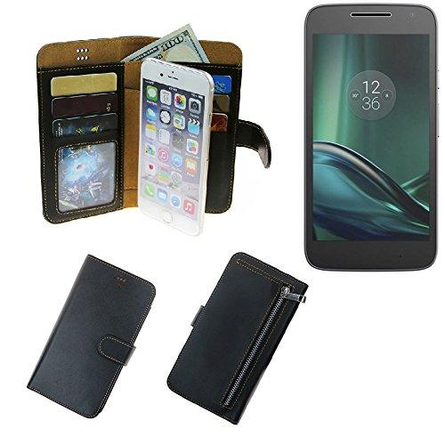 K-S-Trade Für Lenovo Moto G (4. Gen.) Play Portemonnaie Schutz Hülle schwarz aus Kunstleder Walletcase Smartphone Tasche für Lenovo Moto G (4. Gen.) Play - vollwertige Geldbörse mit Handyschutz