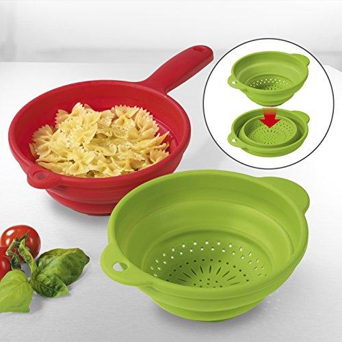 GOURMETmaxx Küchensieb faltbar 2-tlg. Silikon Faltbarer Seiher Nudelsieb, Umweltfreundlich BPA Frei und Leicht zu Reinigen